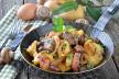 Aardappelschotel met cantharellen en spek recept