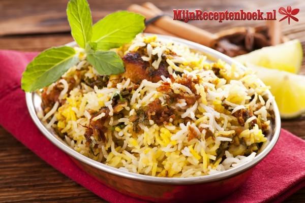 Grote garnalen met Indiase rijst