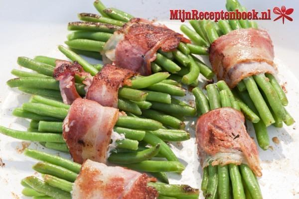 Haricot vertsrolletjes met spek recept