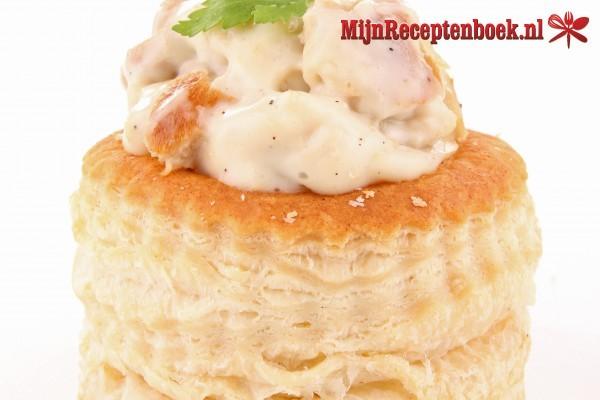 Ham-champignonragout voor buffet