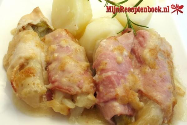 witlof uit de oven met kaas en ham